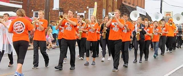 Chester High School Marching YellowJackets entertain the crowd at the annual 39th Annual Popeye Picnic parade Saturday.