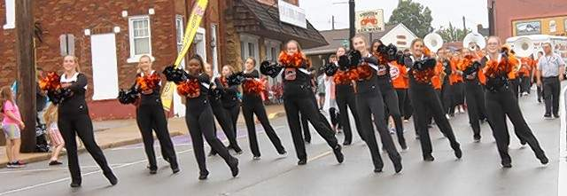 The Chester High School Dance Team go through their steps during the 39th Annual Popeye Picnic parade Saturday.