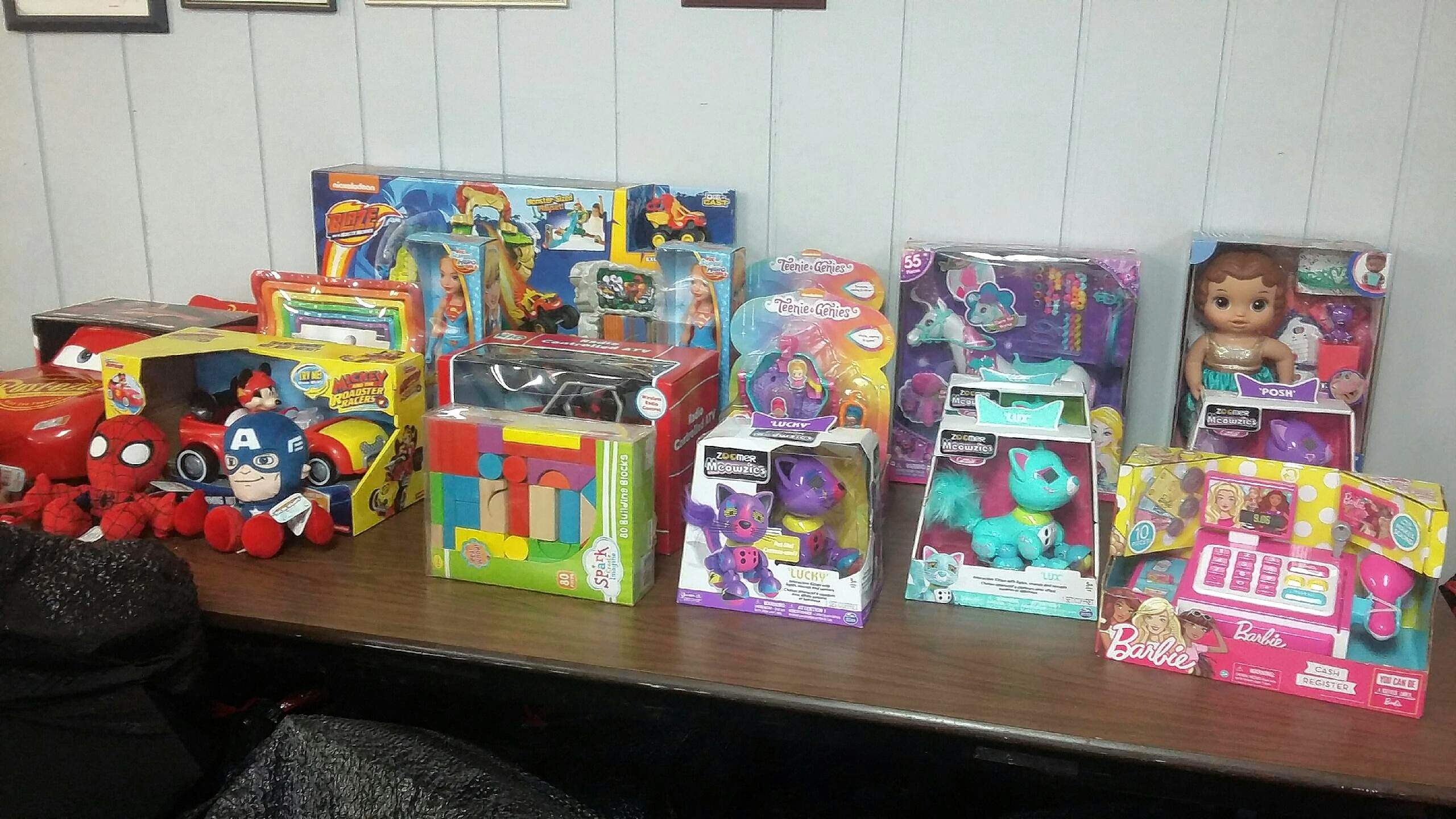 Pictured are some of the toys purchased as gifts for pediatric patients at Shriners Hospital in St. Louis. The gifts were made possible through a lemonade stand fundraiser.