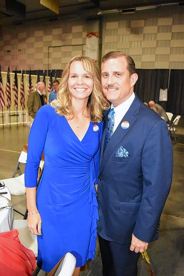 Mike Absher, pictured here with his wife, Cheryl, at the Reagan dinner over the weekend, has thrown his hat into the ring for mayor of Marion.