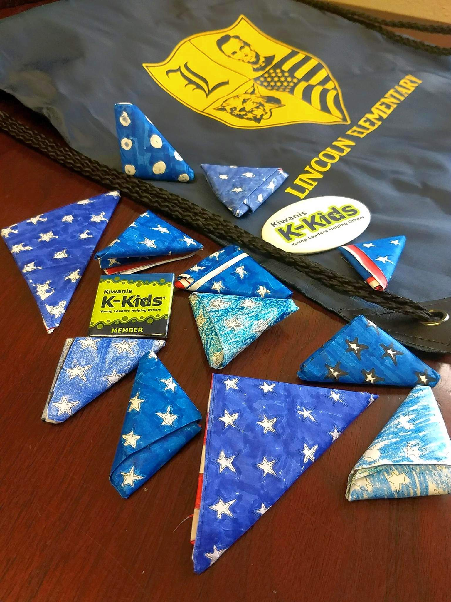 Miniature paper flags served as decorations for Patriot Day at Lincoln School in Marion Tuesday.