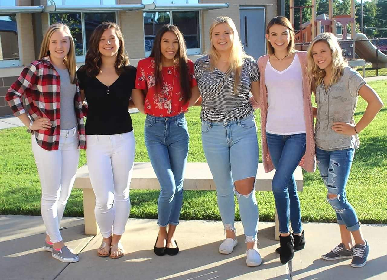 Underclassman Homecoming attendants at PCHS are from left: juniors Leah Thies and Lauren Jackson; sophomores Jade Riley and Deja Jenkel; and freshmen Aubrey Lemmon and Aliyah Barnett.