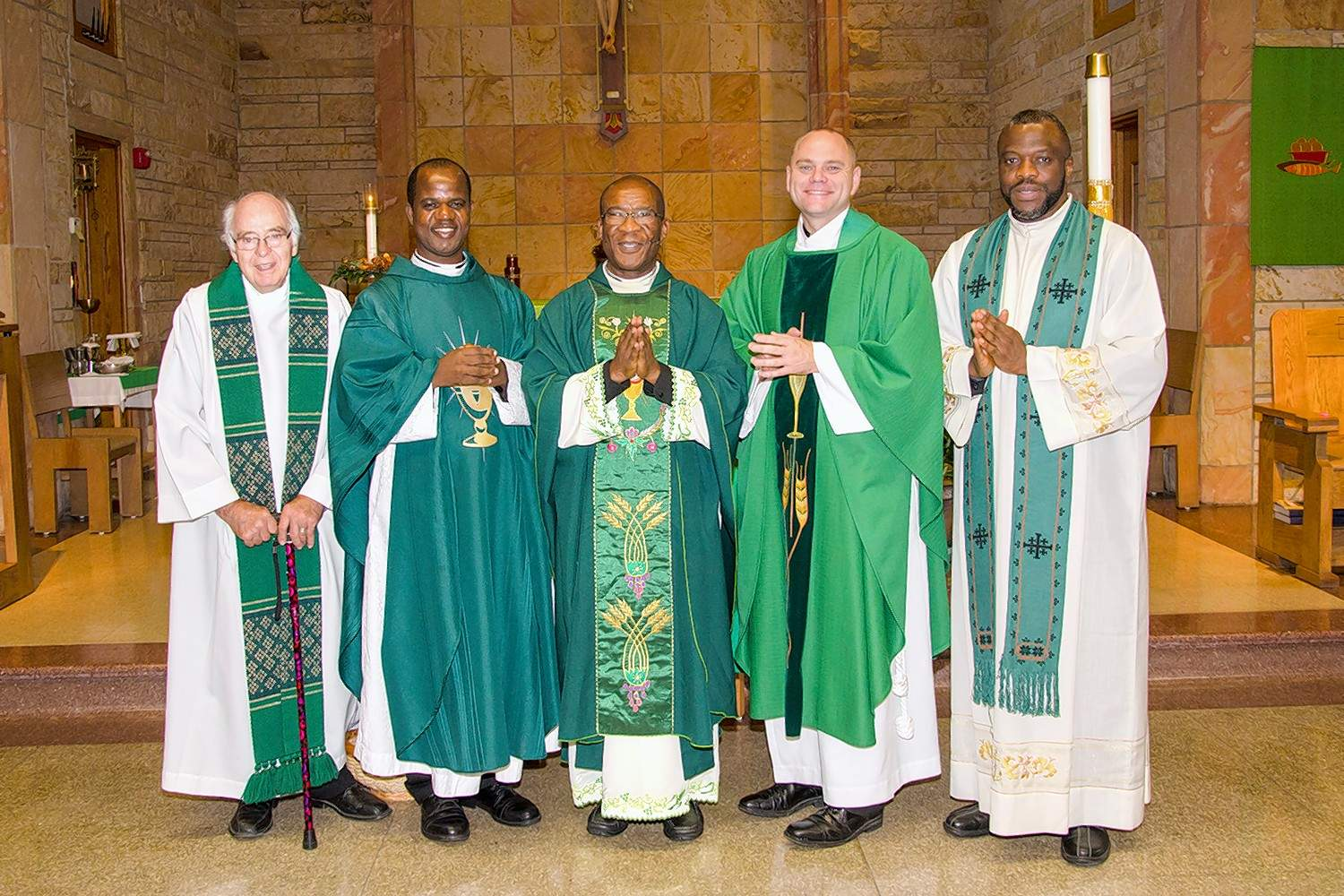 From left to right are Father Joseph Trapp, Rev. Philemon Okoh, Father Urban Osuji, C.M., the Very Rev. Steven L. Beatty, Vicar Forane, and the Rev. Osang Idagbo, C.M.