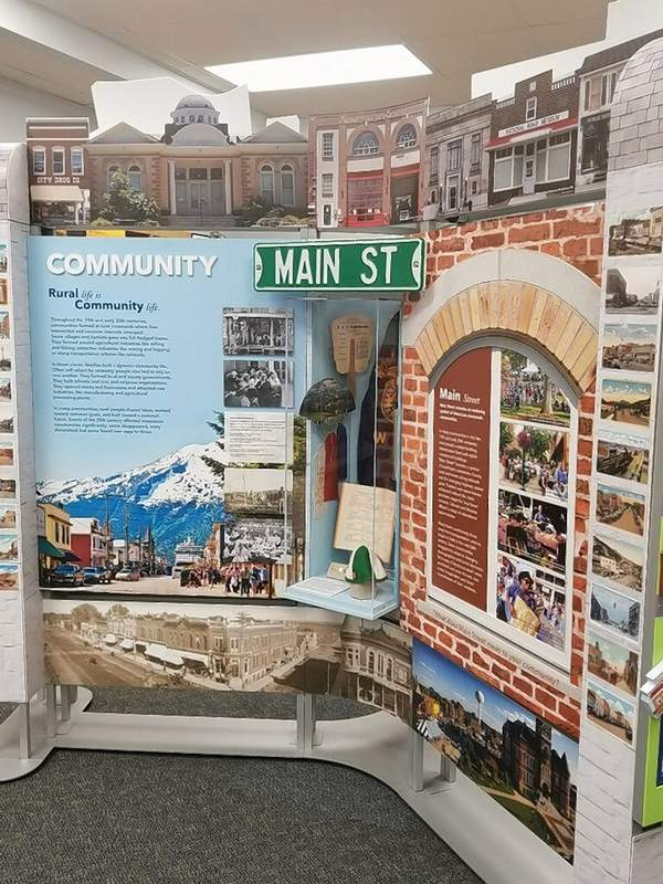 """The welcoming component of the Museum On Main Street exhibition from the Smithsonian Institution exhibit """"Crossroads: Change in Rural America"""" greets guests at the Chester Public Library. The exhibit runs through Oct. 20, and the library will host a number of related events during its stay."""