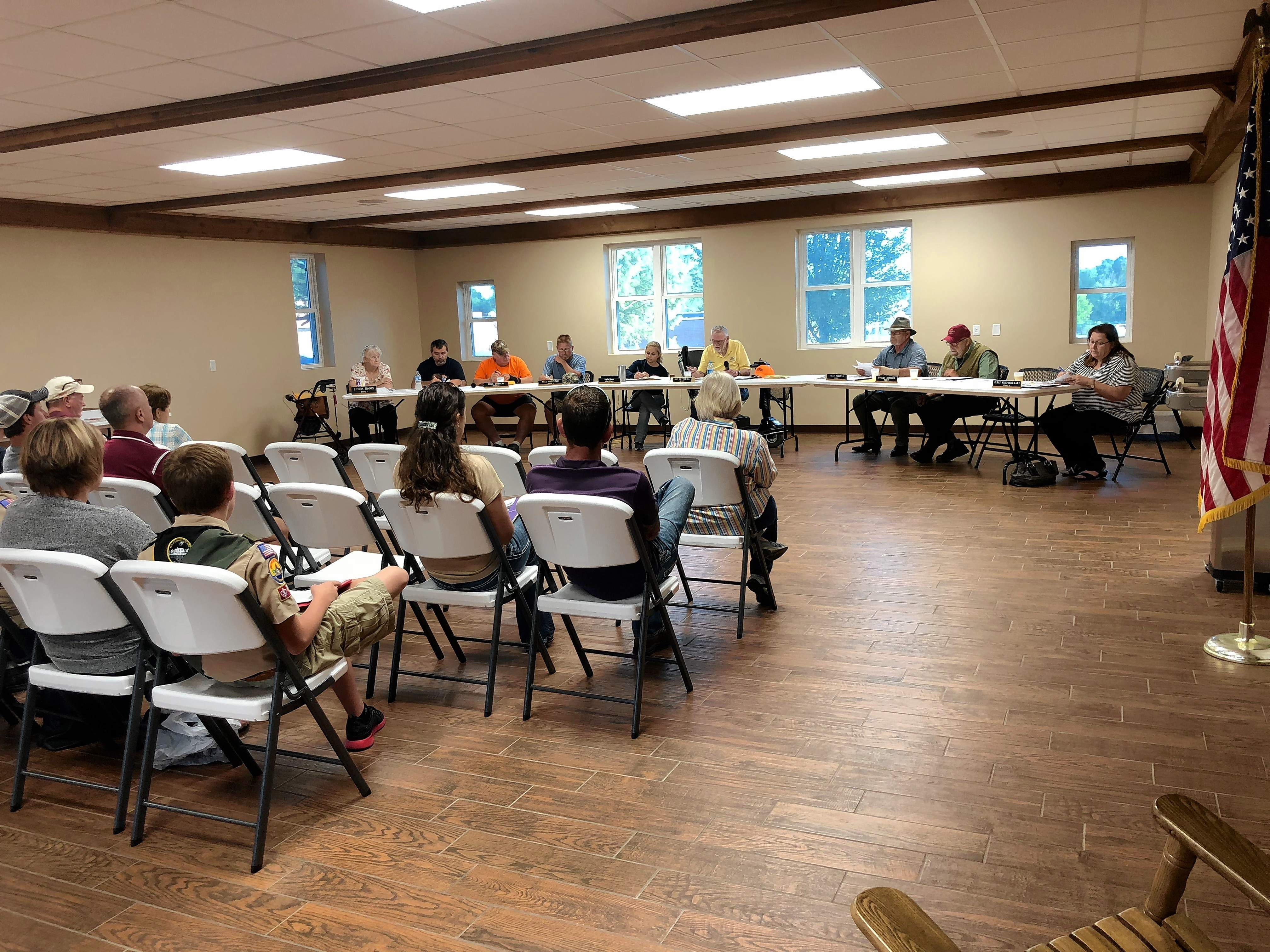 After having to hold meetings at a local business, the Johnston City Council  moved back to the Scout Cabin on Tuesday.