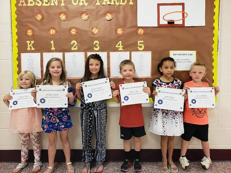 Star Students for the week of Sept. 4 are, from left, Alayna Mayes (kindergarten), Maddie Dillard (seconnd grade), Kynslee Hancock (second grade), Aiden Craig (first grade), Gabby Briggs (first grade), and Jace DeBaufre (kindergarten).