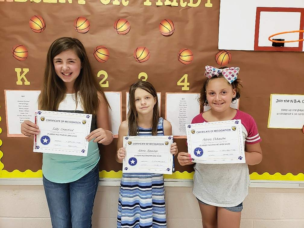 Top Cats for the week of Sept. 4 are, from left, Lily Crawford (fifth grade), Alivia Jennings (fourth Grade), and Alivya DeBaufre (third grade).