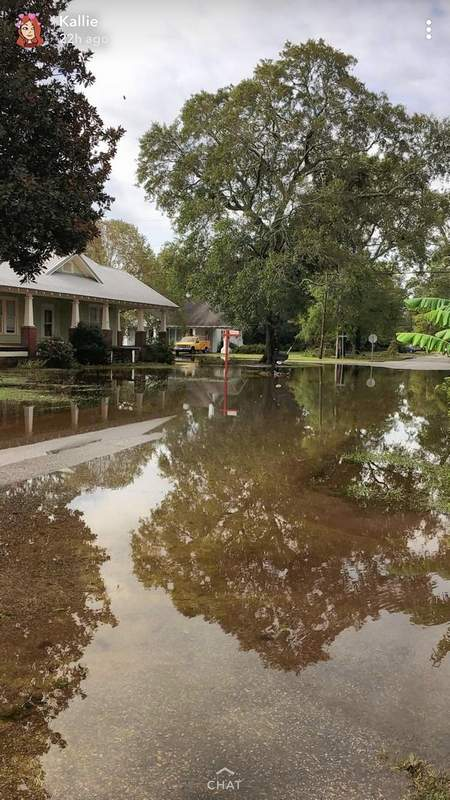 Flood waters left in the wake of Hurricane Florence surround the Wright home in Dillon, South Carolina.