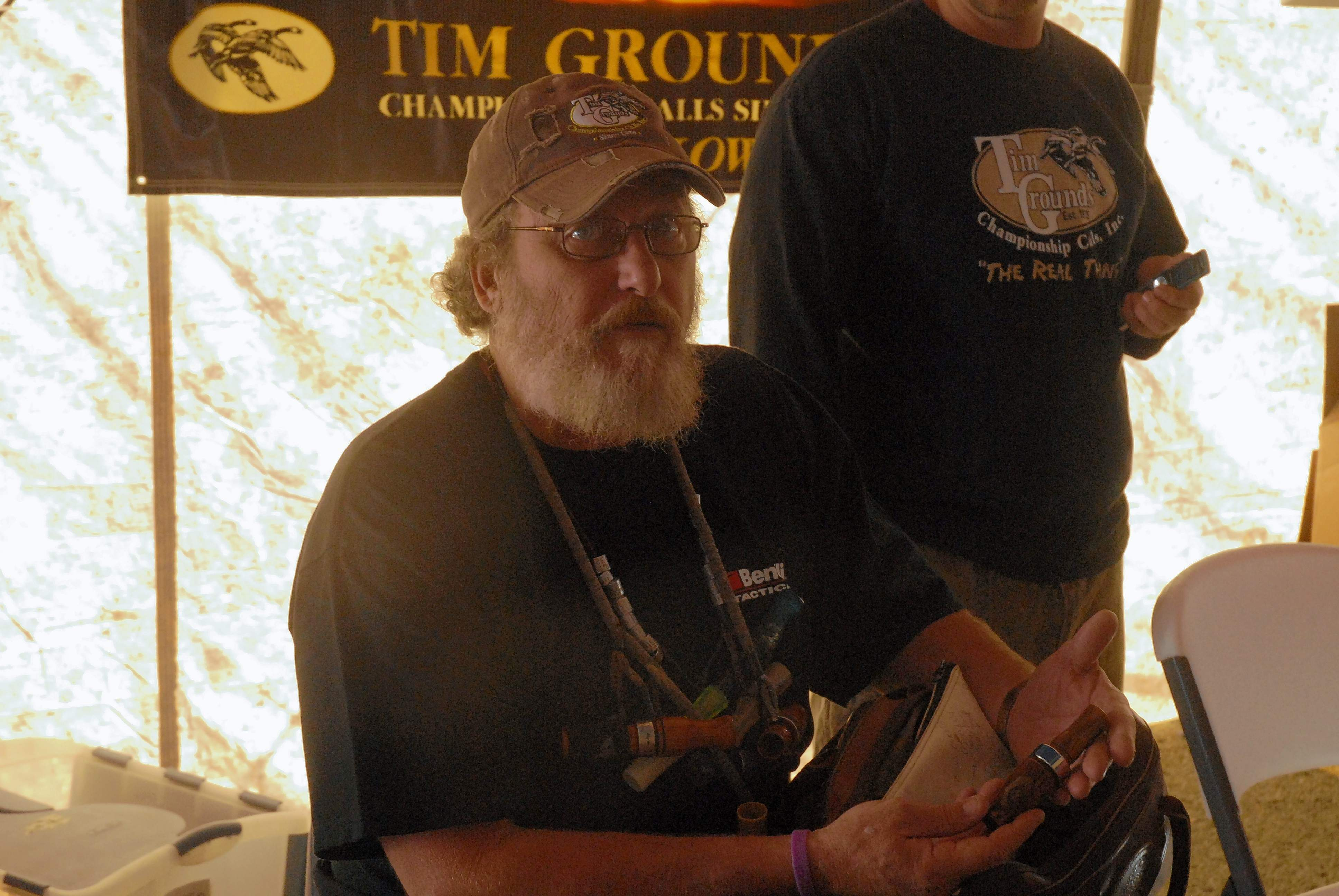 In this undated photo, Tim Grounds displays one of his world-class goose calls at the Waterfowl tent at John A. Logan College's Hunting and Fishing Days.
