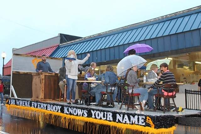 "The First State Bank of Campbell Hill's float had a ""Cheers"" theme at the Oktoberfest parade,"