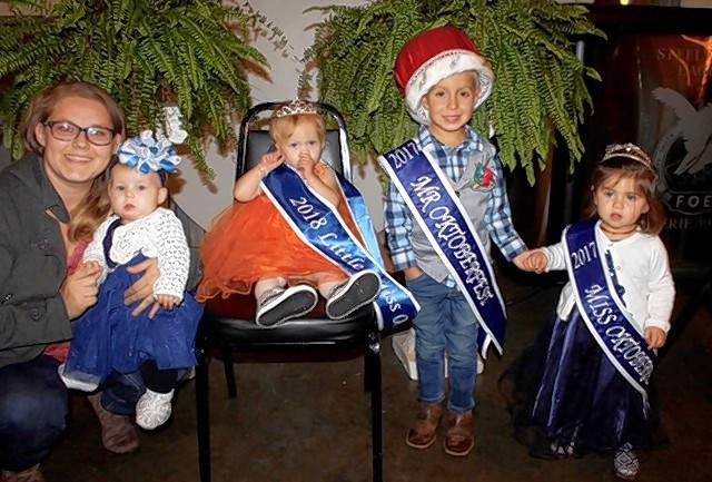 Retiring 2017 Little Mr. Oktoberfest Jackson Conway and Little Miss Hensley Bainter, contestant Adison Harber, and the 2018 Little Miss Oktoberfest Mi'Amore Gordon