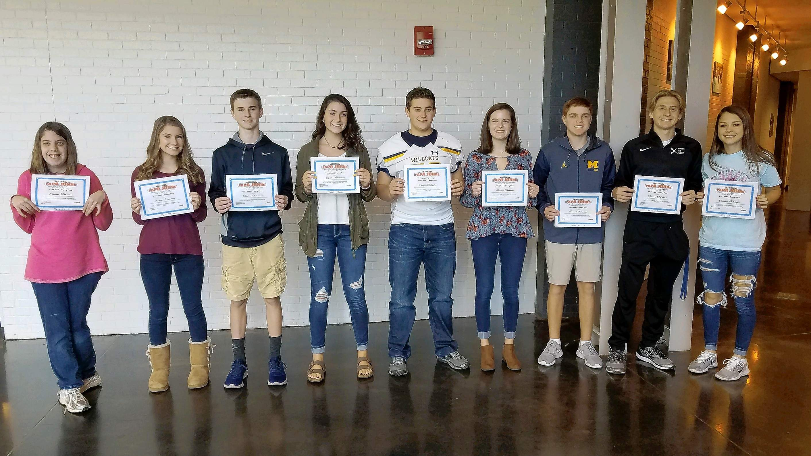 The following students were named Marion High School students of the month for September. From left: Strive: Jessica Donahue; freshman Camri McReaken and Kale Cameron; sophomores Rachel Daun and Rece Roper; juniors Gloria Wofford and Isaac Hammet; and seniors Matthew Crabtree and Morgan Andrews. Students were eligible for the award by having no absences and tardies during September. Teachers then voted for one boy and one girl in each class that demonstrated good character and served as a role model for others.