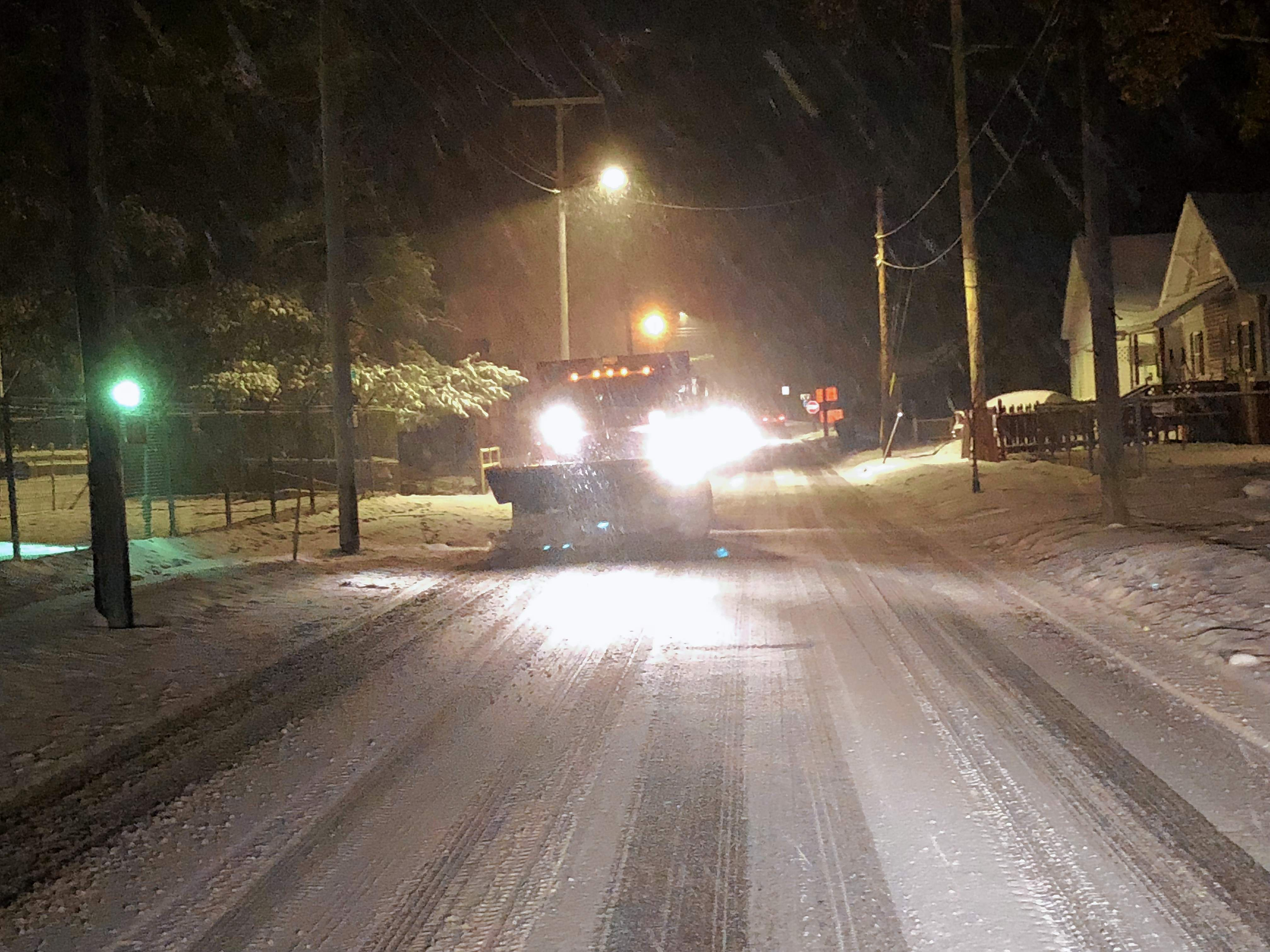 As the earliest measurable snowfall since 1951 blanketed southern Illinois Wednesday evening, Johnston City Street Department workers were out in force clearing roads. Crews worked through the night to help ensure that the city's main thoroughfares would be as safe as possible for the morning commute.