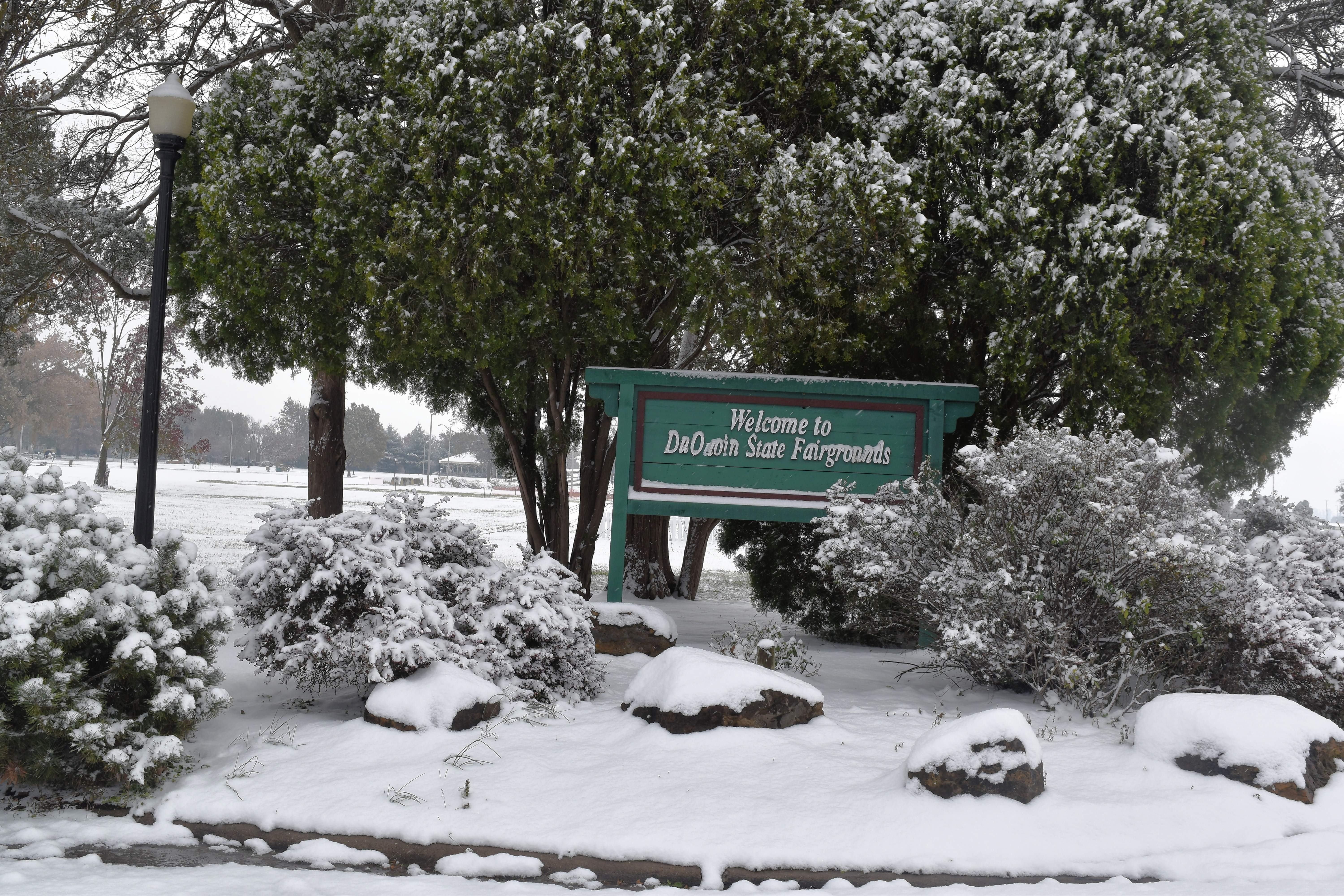 The welcome sign inside the Du Quoin State Fairgrounds looks picturesque with the newly fallen snow surrounding it.