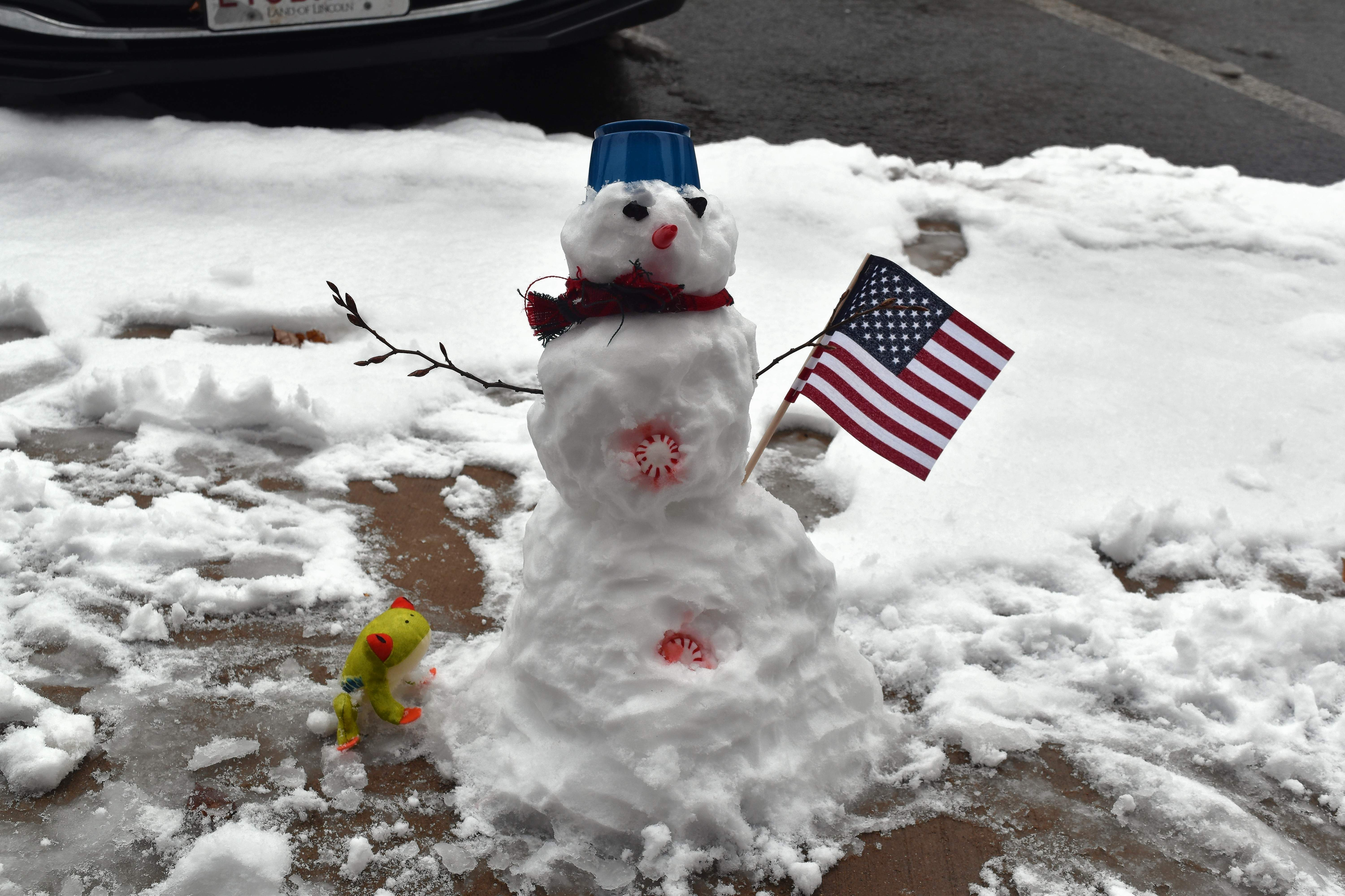 This small, yet decorative snowman graced the front sidewalk of the Du Quoin Call office Thursday morning, perhaps the prank of some youngsters who were out of school for the day.