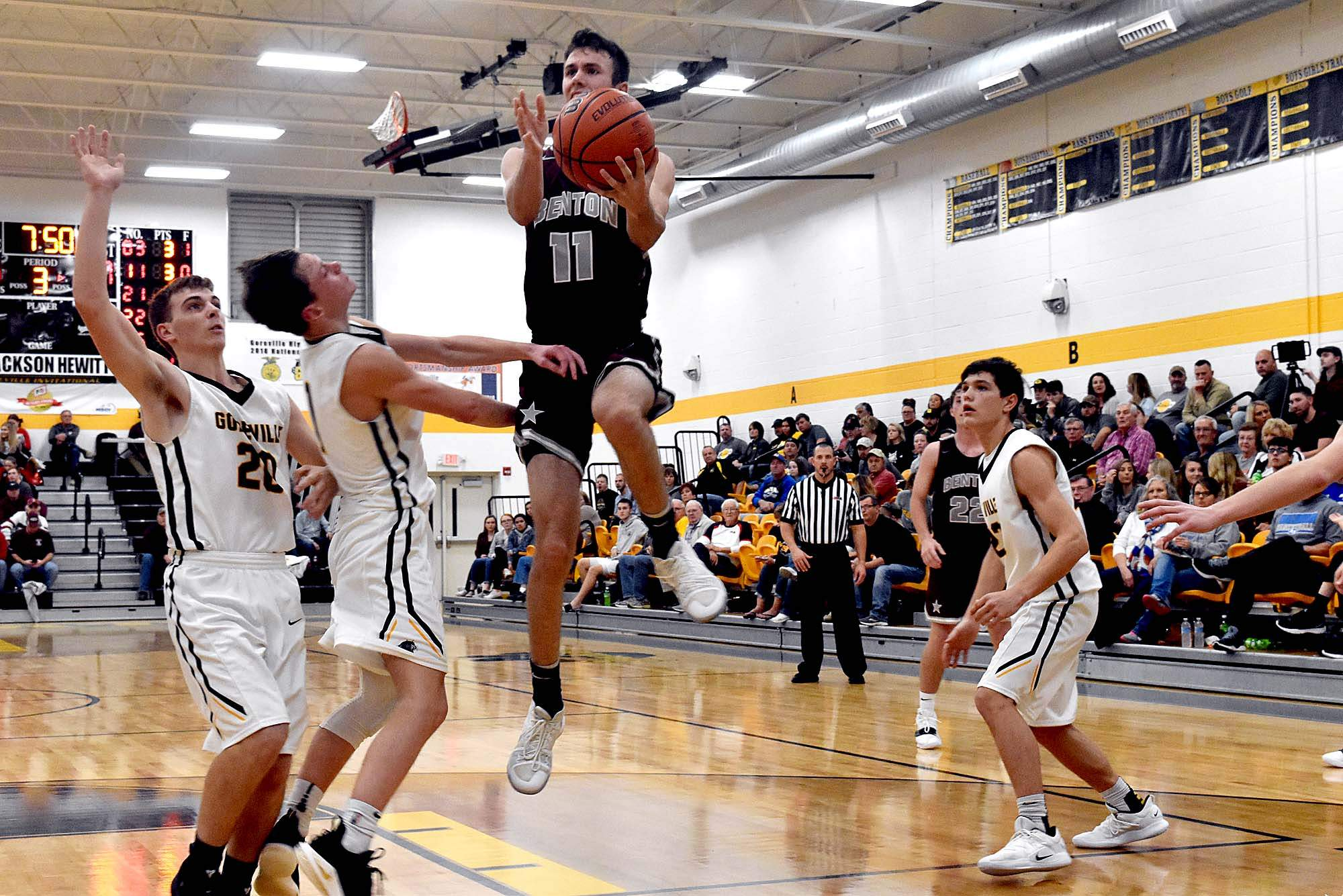 Carson Lewis, MVP of the Goreville Invitational Tournament, goes up for a shot during the Rangers' game against Goreville on Saturday night. Lewis, Brad Hammond and Joey Craig were all named to the all-tournament team as the Rangers won/shared the title for the fourth straight year.