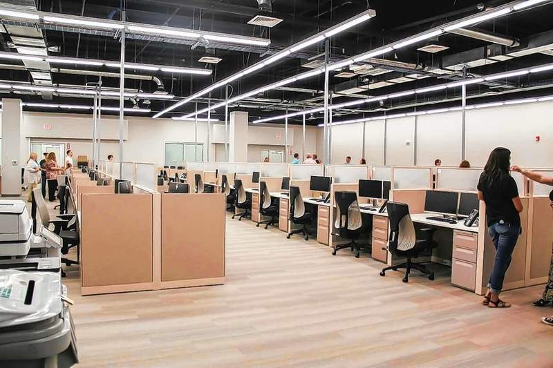 This photo shows the inside of the initial office suite for WPS at the West Frankfort Outlet Mall in September 2018.