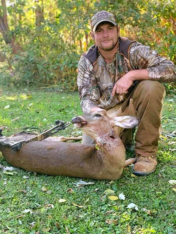 Parker Dietrich with his doe.