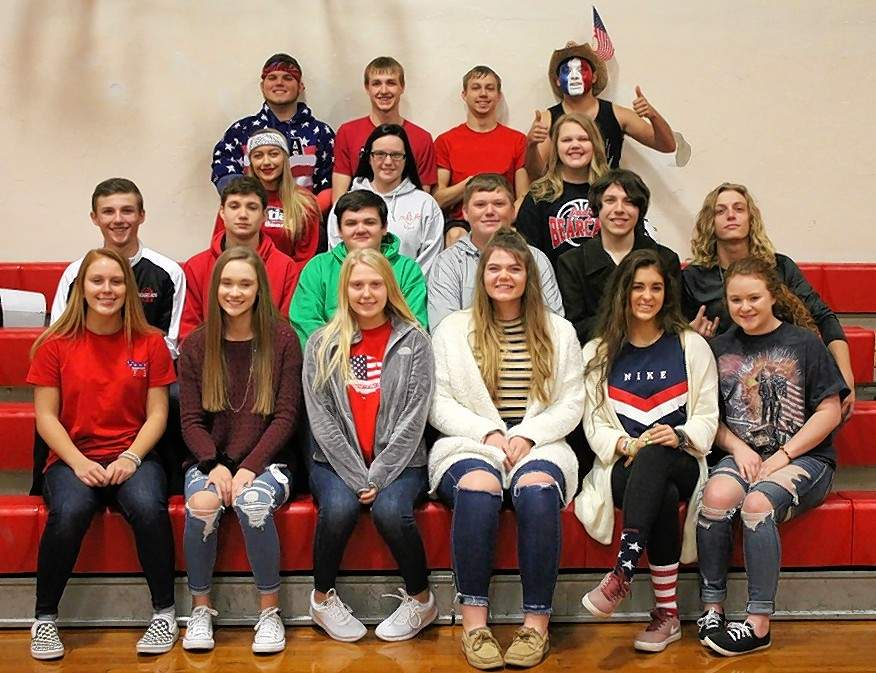 2018 Galatia Homecoming court is, front row from left, Mollie Peterson, Andrea Stricklin, Grace Imhoff, Josie Martin, Macey Fletcher, Kailey Bebout; second row, from left, Trevor Hale, Lane Lawrence, Tyler Anderson, Isaac Irvin, Nihl Morton, Noah Miller; third row, from left, Kayli Clarida, Stephanie Curtis, Kelsi Watson; fourth row, from left, Dalton Fitzpatrick, Allen Marvel, Brendon Mondino, Casey Pribble. Not pictured: Karley Ratliff.