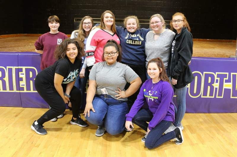 The cast of the CMSF talent show included, (kneeling, from left) Nia Sternberg, Aryanna Guyton, and Emmalee Fly, (standing, from left) Ashton Pearce, Anahbeth Leiter, Bailee Wright, Sami Morris, Alex Morris and Jada Barnett.