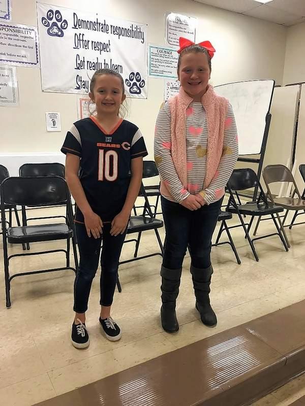 From left, fifth grade spelling be runner-up Kenady Herren and winner Hadley Hunt.