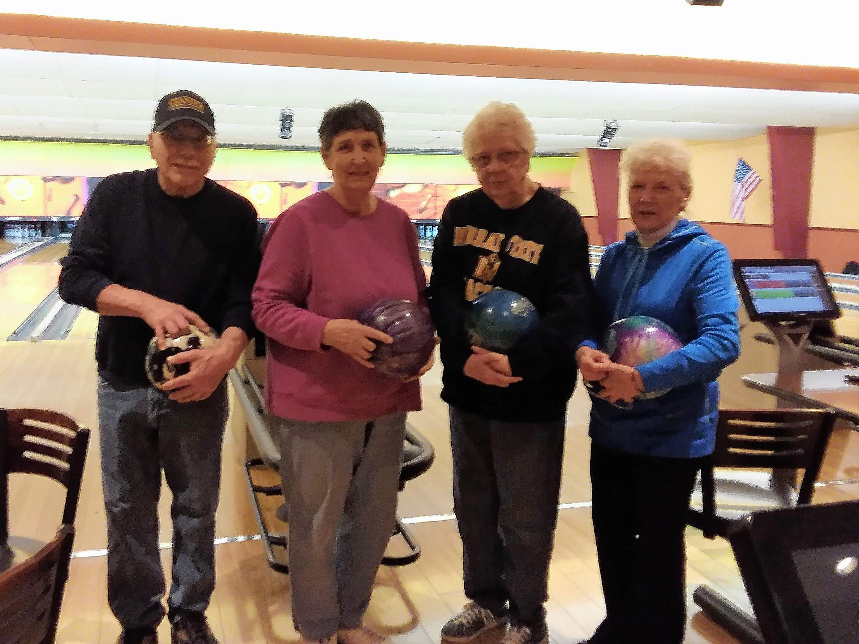 From left, Tom Veth, Mary Vinyard, Carolyn Veth and Carolyn Elam were the team with thei highest pin count.