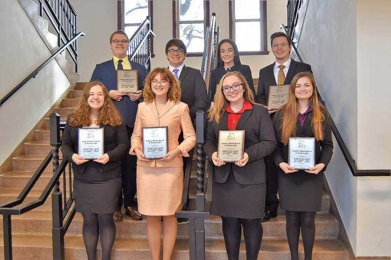Members of Harrisburg High School's speech team show their Top 25 Speaker awards. HHS had eight members named to the speech league's Top 25 this season. Front row, from left, are Kaylee Robinson, Maddi Kennedy, Ravyn Gauch and Kendall Vallette. Back row, from left, Bradley Frailey, Jack Gulley, Addie Hanks and Kole Phelps.