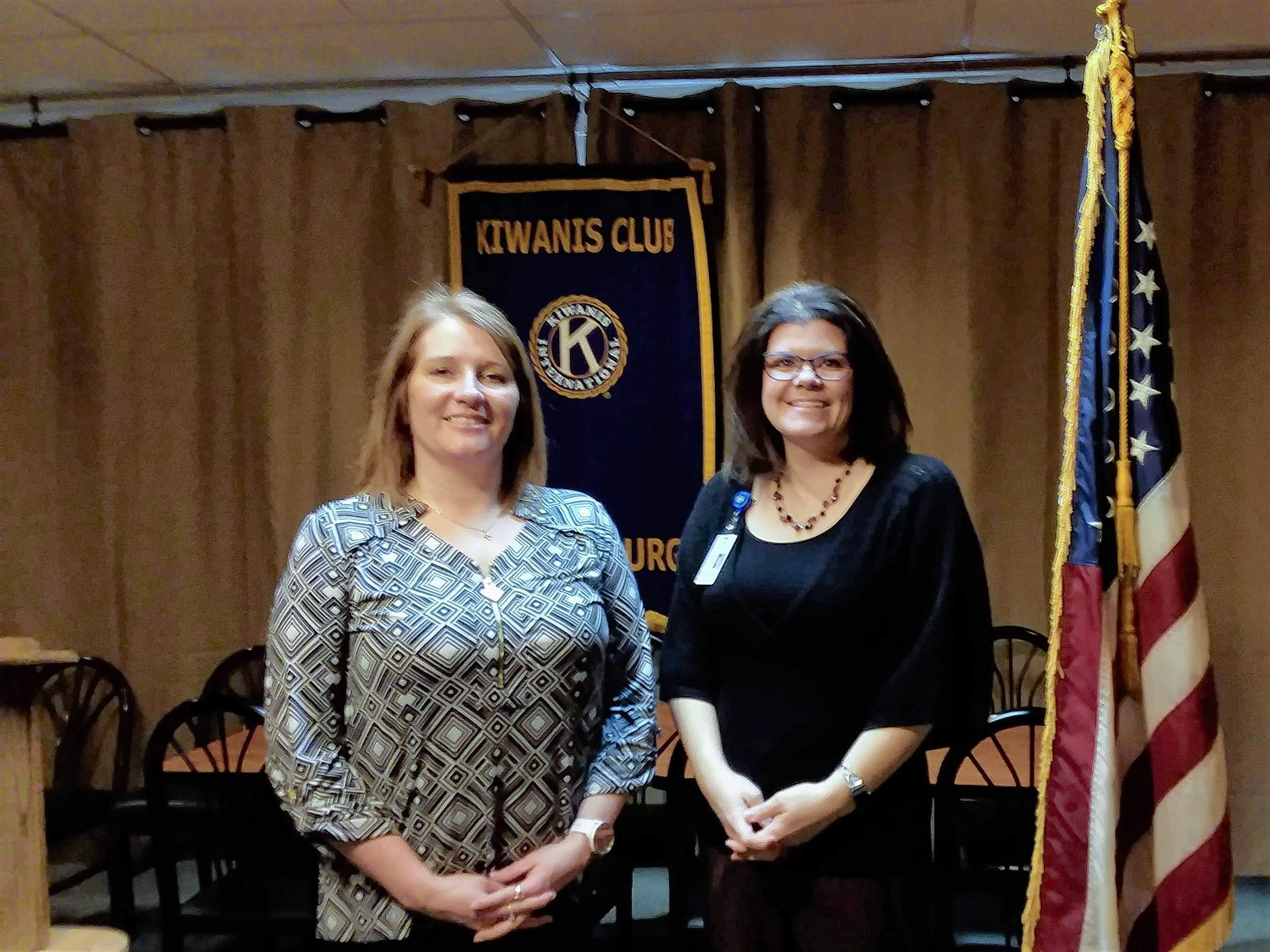 From left, Kiwanis President Amy Short and guest Lauren Sanders stand for a photo. (Not available for photo, Keith Brown, program sponsor.)