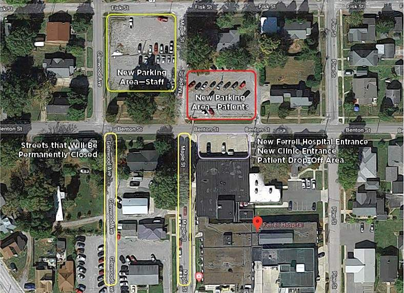 This photo map details how the streets and area surrounding Ferrell Hospital will change beginning Monday, April 15.