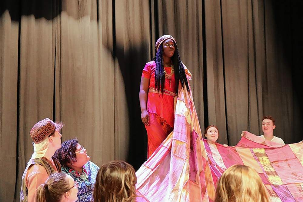 """Aida (Sena Ntumy of Carbondale) rehearses a scene from the musical """"Aida"""" at SIC. Opening night is April 26 at 7 p.m."""