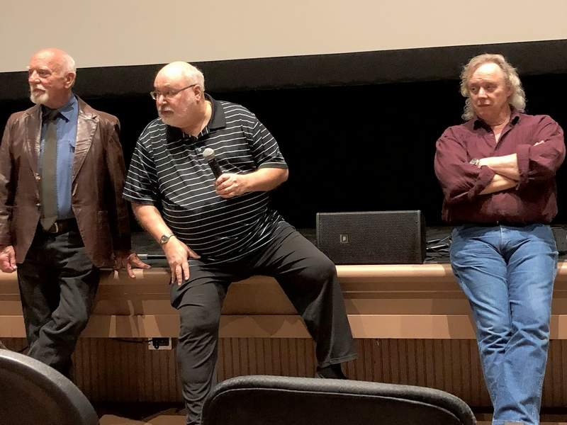 "From left, Bert Hinchman, Richard Taylor, and Les Lannom, field questions from the audience following the screening of the 40th Anniversary ""Garage Edition"" of the 1978 cult classic ""Stingray"" in Edwardsville Saturday evening."