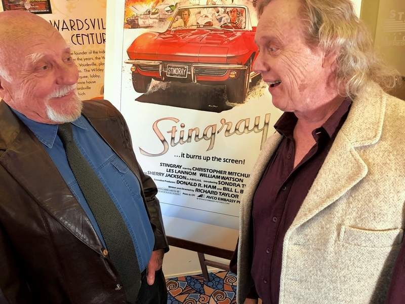 "Actors Bert Hinchman, left, and Les Lannom, share some fond memories from the filming of ""Stingray"" prior to the screening of the 40th Anniversary ""Garage Edition"" at the Wildey Theatre in Edwardsville Saturday evening."