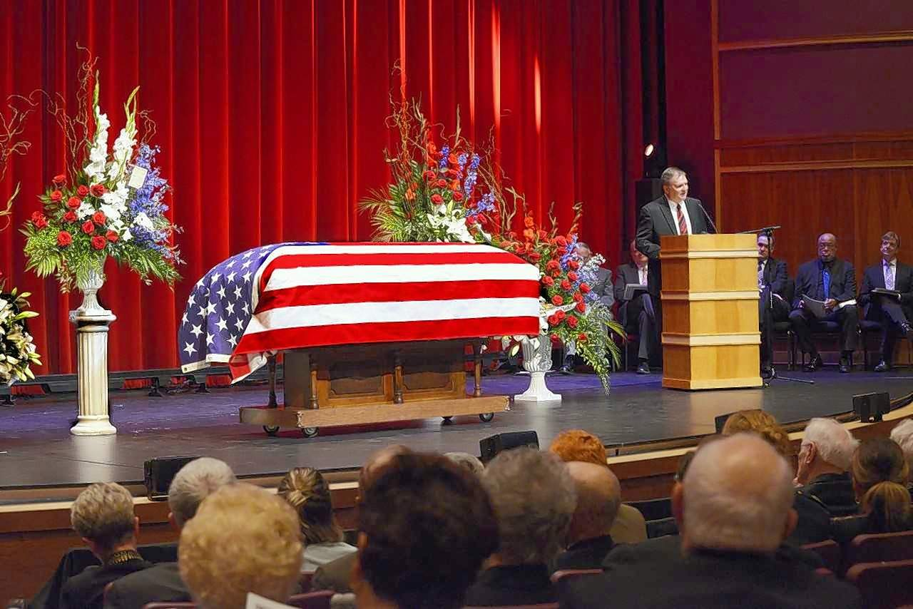 "The Honorable G. Patrick Murphy eulogizes the late Marion Mayor Robert Butler inside the Marion Cultural & Civic Center Tuesday, calling him ""a true friend who changed the lives of many."""