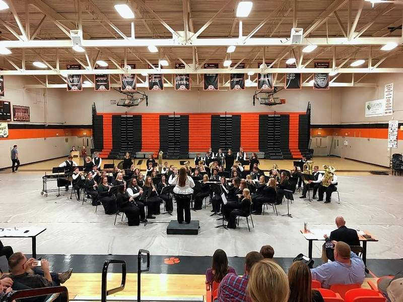 The Harrisburg High School Concert Band performs at Dollywood in Pigeon Forge, Tennessee.