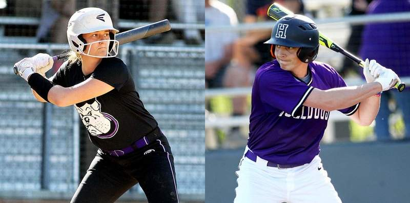 Harrisburg's Karsyn Davis (left) and Javie Beal will lead their respective ballclubs into the upcoming IHSA Class 2A Regional, where the softballteam in the No. 1 seed in their own regional, while Beal and the Bulldogs are the No. 1 seed in the Anna-Jonesboro Regional.