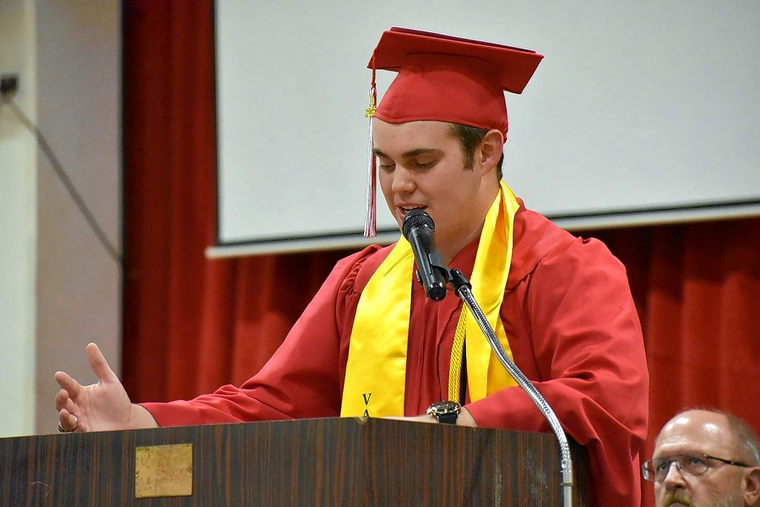 Galatia High School Class of 2019 valedictorian Cameron Michael Triplett speaks to his classmates during graduation. See more photos on page 5.
