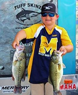 Landon Gabby of Marion placed second in the Illinois Junior Bass Nation state tournament last weekend with four fish caught weighing 9.96 pounds, thus advancing to a national tourney in August at Kentucky Lake.