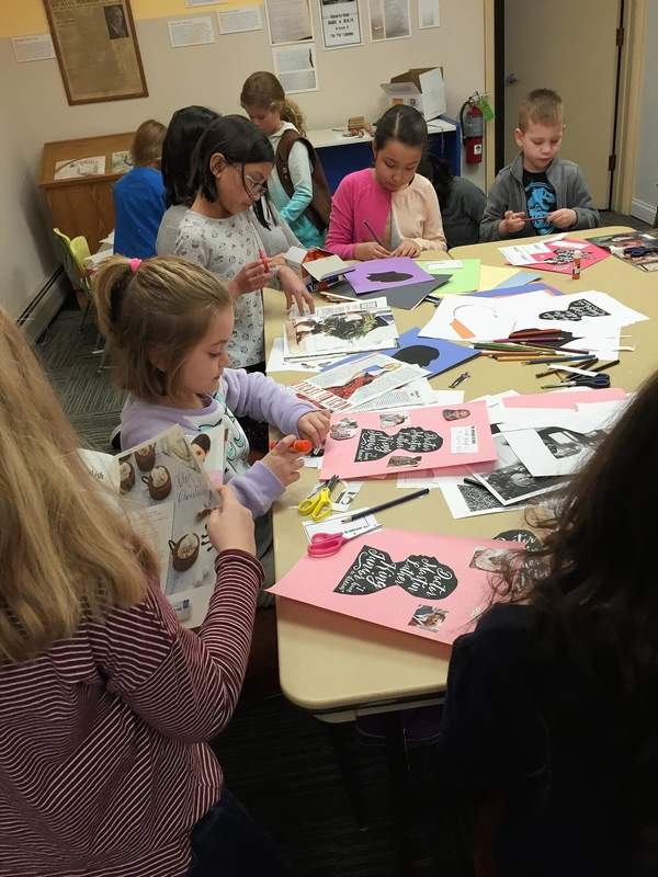 Children at Des Plaines History Center learn about the Civil Rights Movement and create diversity-themed collages for Martin Luther King Day.