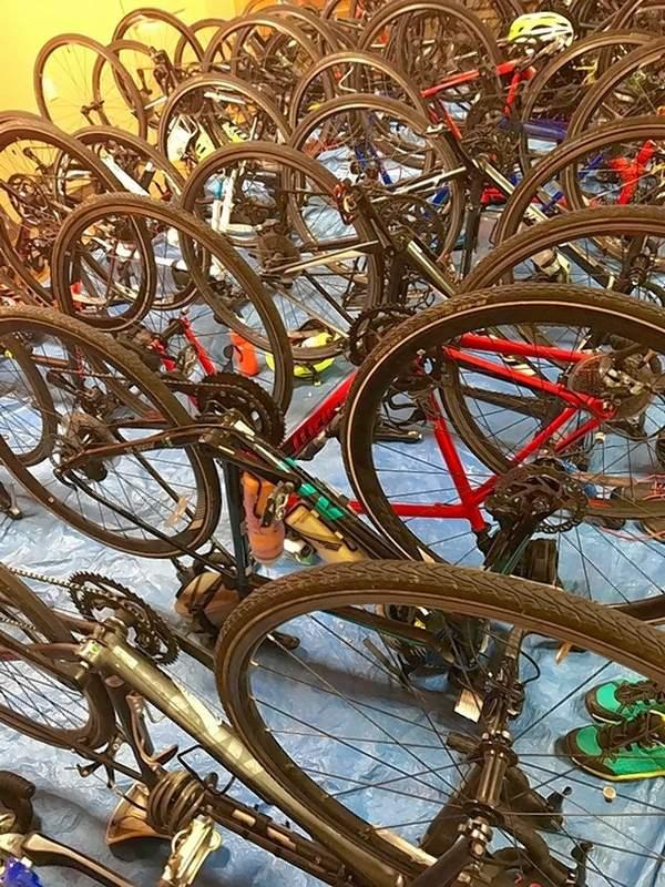 Bike & Build team members' bikes rest in the Harrisburg First Presbyterian Church annex.