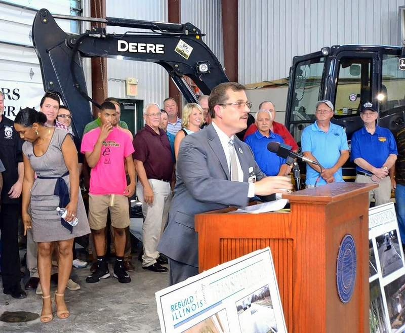 Marion Mayor Mike Absher welcomes Illinois Gov. J.B. Pritzker to town Tuesday.