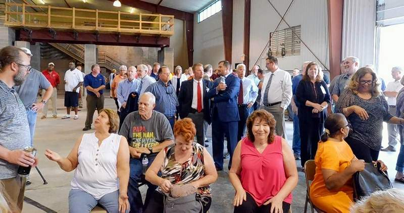 A small portion of the overflow crowd that awaited Gov. J.B. Pritzker at the training center of Laborers Local 773 in Marion Tuesday.