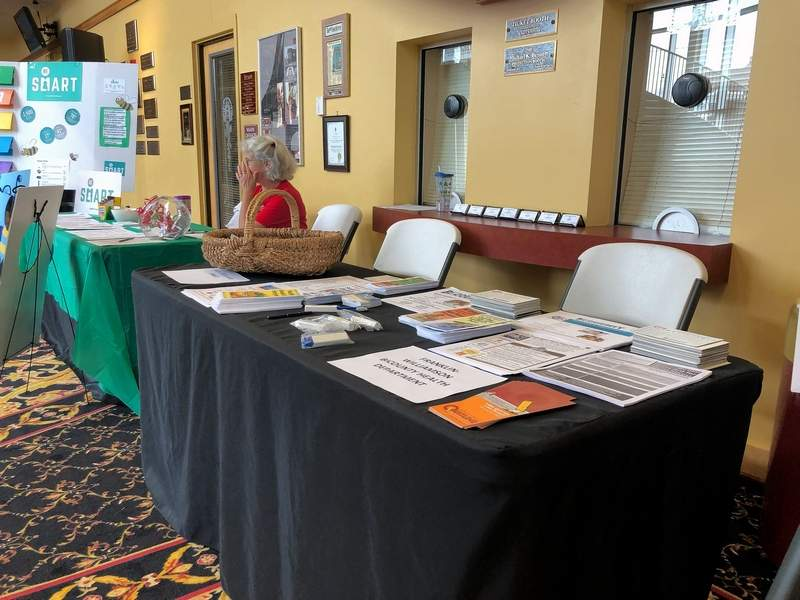 Katie Carl, one of the organizers of the Community Safety Fair, sits a an information table at Saturday's event.