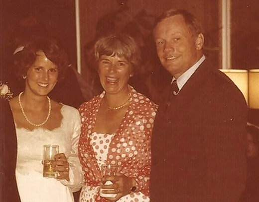 Shearon (Trude) Arnott, left, with Jan and Neil Armstrong.