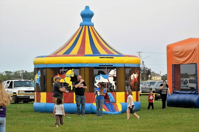 Fairgoers continued to enjoy inflatables provided by Southern Illinois Inflatables at the Saline County Fair Tuesday night.