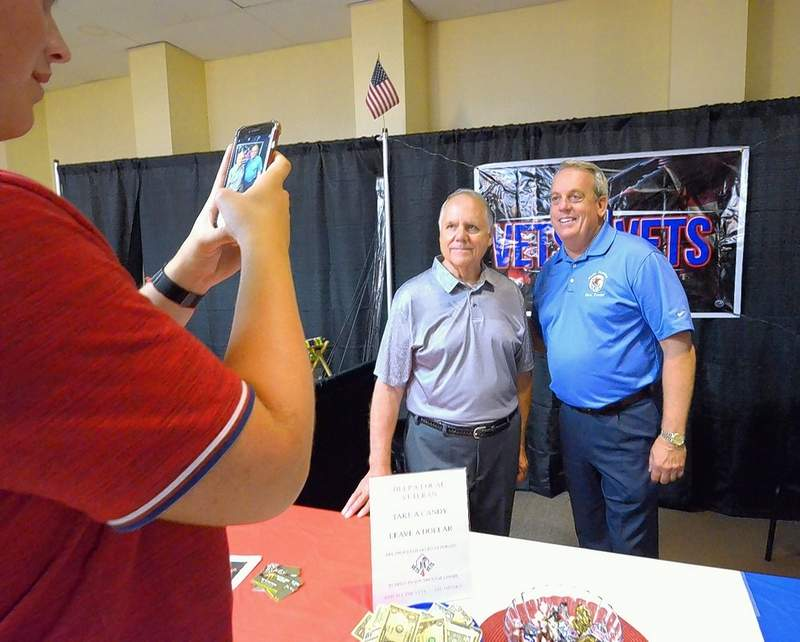 State Sen. Dale Fowler, R-Harrisburg, posed for a photo with Chuck Kuhns, Director of VETS 4 VETS at this weekend's  2nd annual Southern Illinois Made Expo held in Marion.