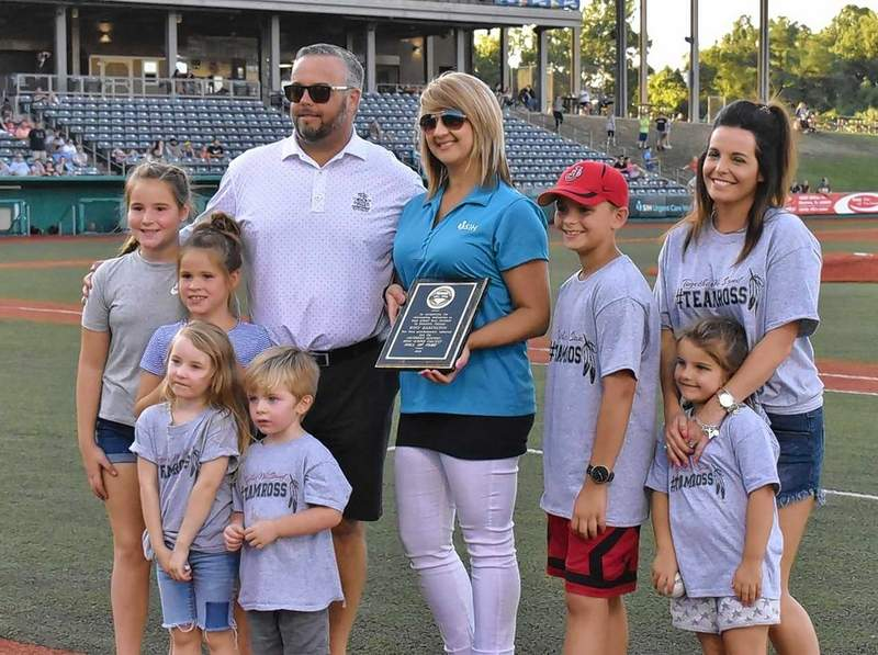 The late Ross Babington of Johnston City was honored Tuesday evening at Rent One Park in Marion. He was inducted into the Southern Illinois Miners Coaches Hall of Fame. Babington successfully coached at both Sesser-Valier and his alma mater - JCHS. Pictured are Brock Babington, SIH employee Deena Kirk, a former student of Ross's from Sesser-Valier, Brady Babington, Brooke Babington Henderson, Rossi Henderson, Lyllia, Harper, Ryan Beth and Eli.