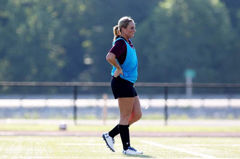 SIU freshman and former Harrisburg standout Devin Butler works on drills during the first practice for the SIU women's soccer program Wednesday morning.