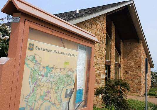 A map of the Shawnee National Forest is available for viewing outside the forest's headquarters building in Harrisburg.