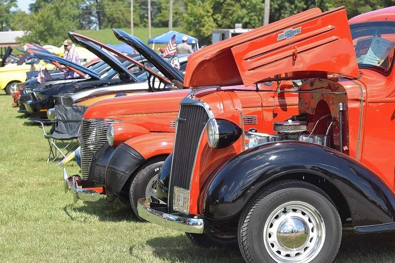 Show cars line up at the Memory Lane Car Show Monday at Saline County Fairgrounds.