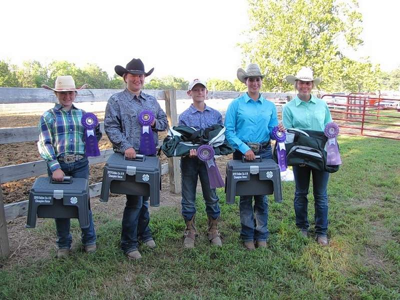 Saline County 4-H Grand Champions and Reserve Champions ribbon winners for their 2019 horse projects are pictured following the 4-H Horse & Pony Show held on July 23.  From left are:  Grand Champion Beginning Horseman, Adriana Vinyard, Grand Champion Intermediate Horseman, Lena Stokich, Reserve Champion Intermediate Horseman, Tate Miller, Grand Champion Advanced Horseman, Sierra Wilson, and Reserve Champion Advanced Horseman, Mollie Peterson.
